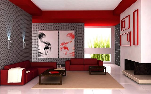 desain ruang keluarga dengan warna merah yang memberi semangat.