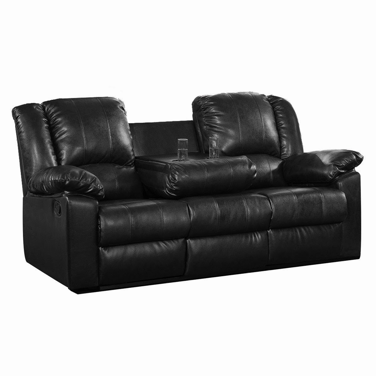 Double Reclining Sofa With Fold Down Table Man Cave Furniture The Best Leather Reviews