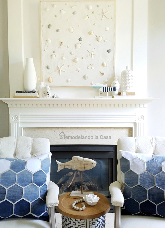 Summer Mantel with sea shells wall art