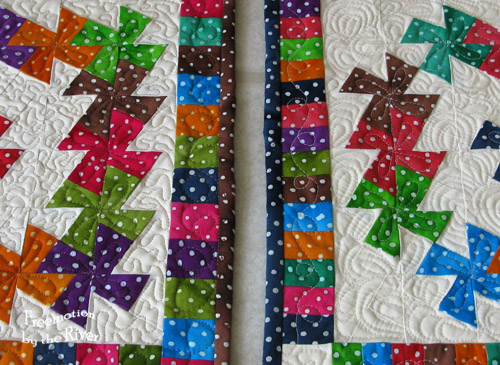 Closeup of quilting on Lil Twister quilts