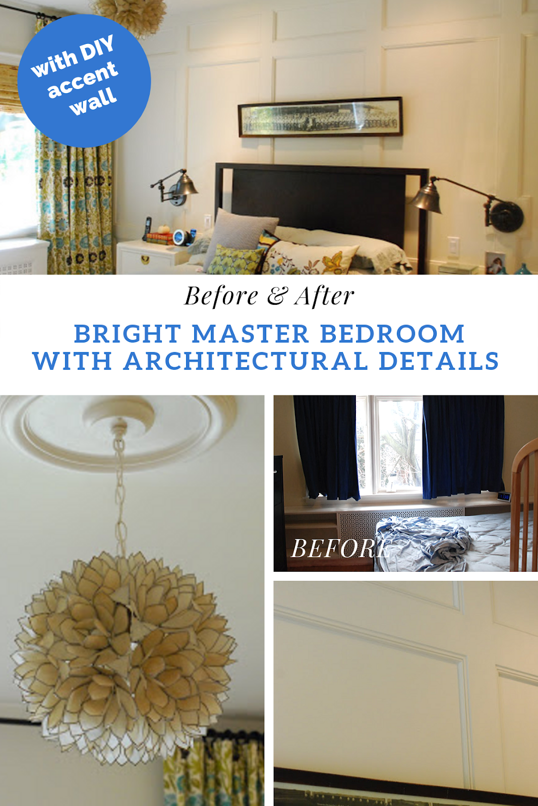 master 卧室 before and 后, bright master 卧室 renovation, 卧室 with accent wall, 自己动手做 panelled wall, board and batten wall