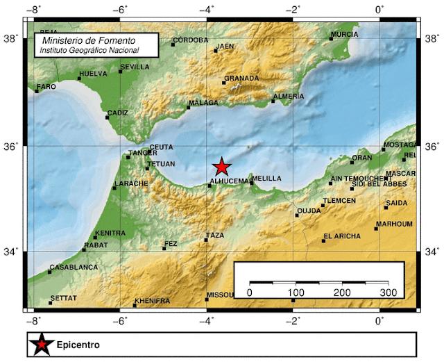 Fuerte terremoto sentido en málaga y Melilla 15 marzo,  Alboran Sur