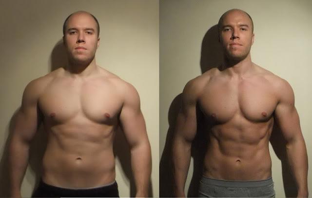 homem forte foto antes e depois de bulking e cutting