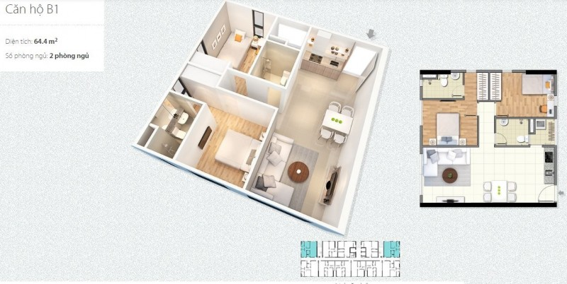 Thiết kế căn hộ 2PN Chung cư 789 Xuân Đỉnh