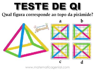 Teste de QI: Qual figura corresponde ao topo da pirâmide?