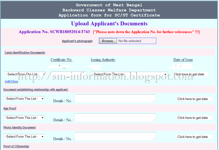 govt of wb sc/st/obc certificate
