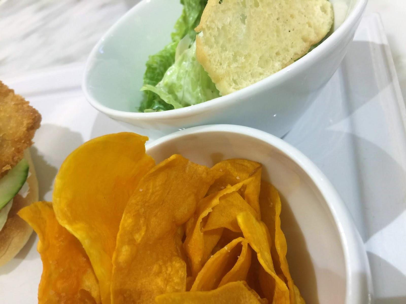 Sweet potato mojos and caesar salad in Cafe Society