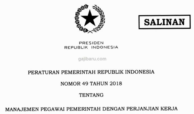 pp tentang pppk terbaru 49 2018