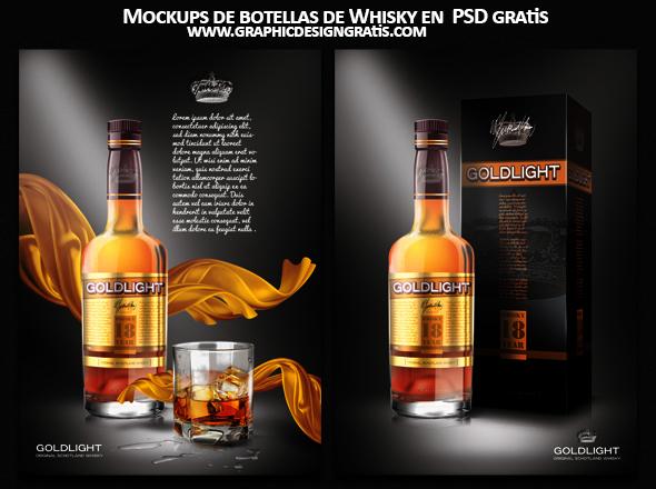 Mockups de botellas de Whisky en  PSD gratis