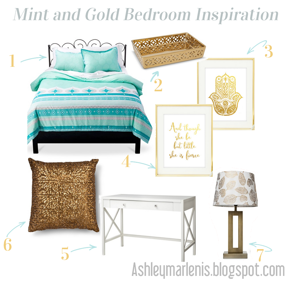 Mint and Gold Bedroom Inspiration