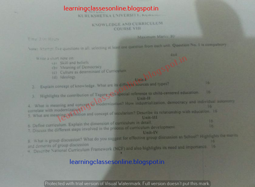 Knowledge and Curriculum Model Test Question Papers