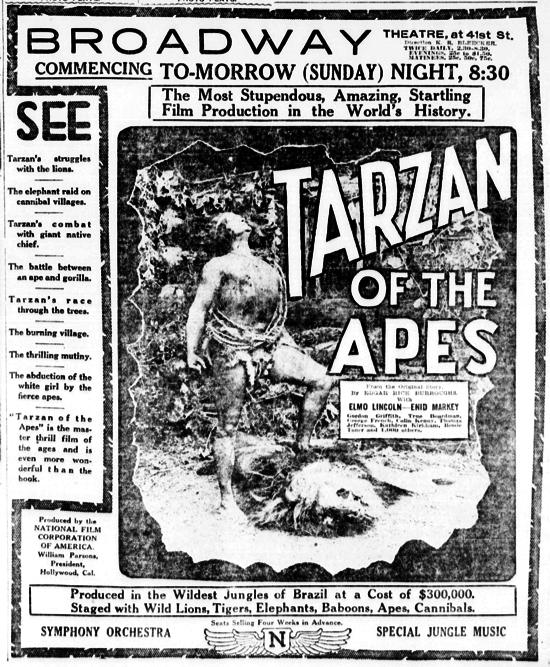 Tarzan of the Apes newspaper advertisement January 26, 1918