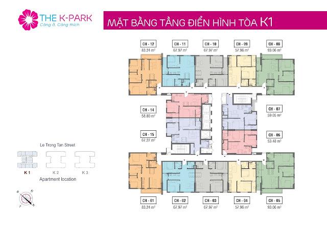 Mặt bằng điển hình tòa K1 chung cư THE K-PARK