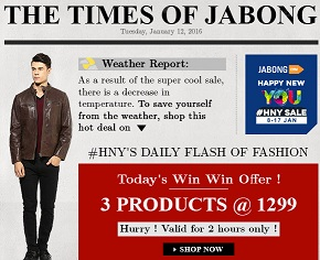 Buy any 3 Products (Clothing, Footwear & Fashion Accessories) just for Rs.1299 @ Jabong (Very Limited Period Offer)