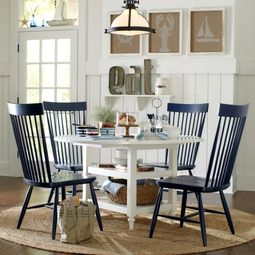 Nautical Dining Room with White Table and Navy Blue Chairs