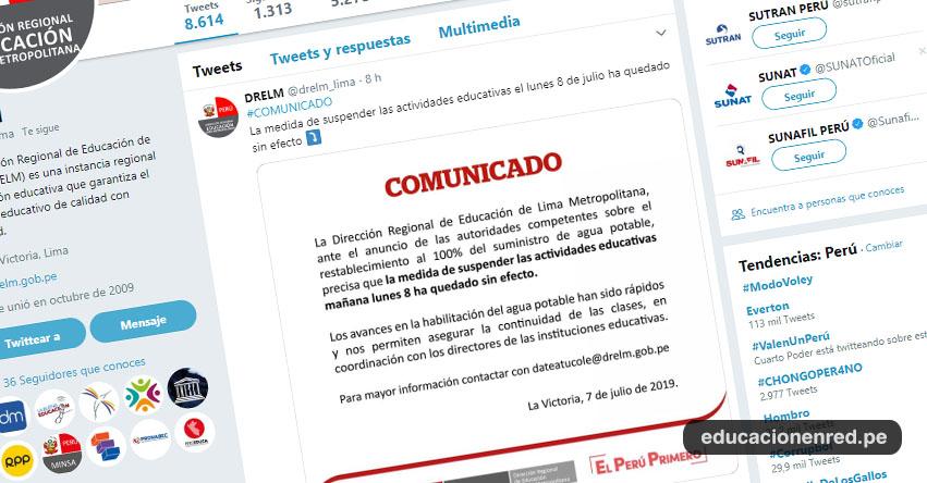 COMUNICADO DRELM: Queda sin efecto suspensión de clases el Lunes 8 de Julio en todas las UGEL de Lima Metropolitana - www.drelm.gob.pe