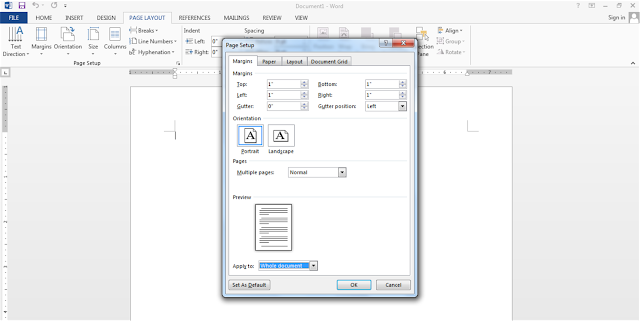 Mengubar ukuran kertas dan margin pada Ms. office word