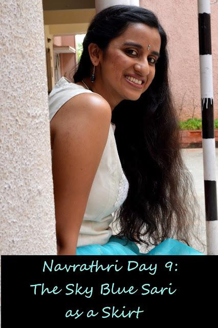 Navrathri Day 9: The Sky Blue Sari Skirt image