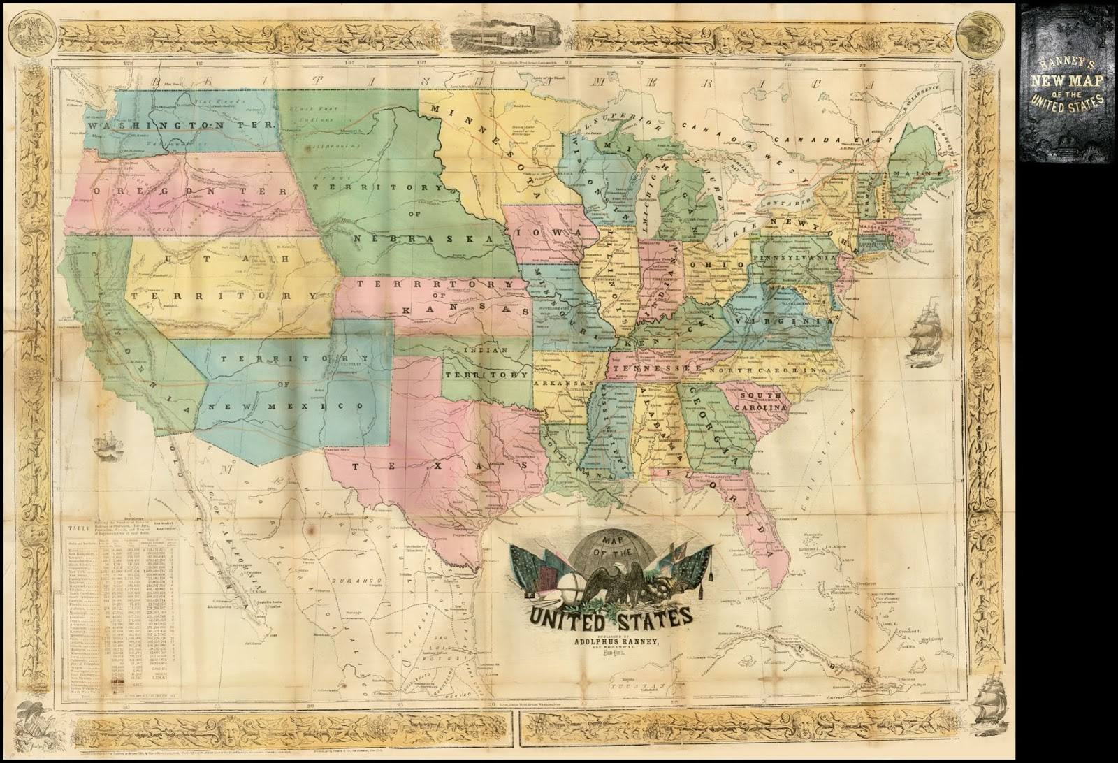 Ranney's new map of the United States (1854)