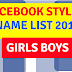 200+ Stylish Names List For Facebook