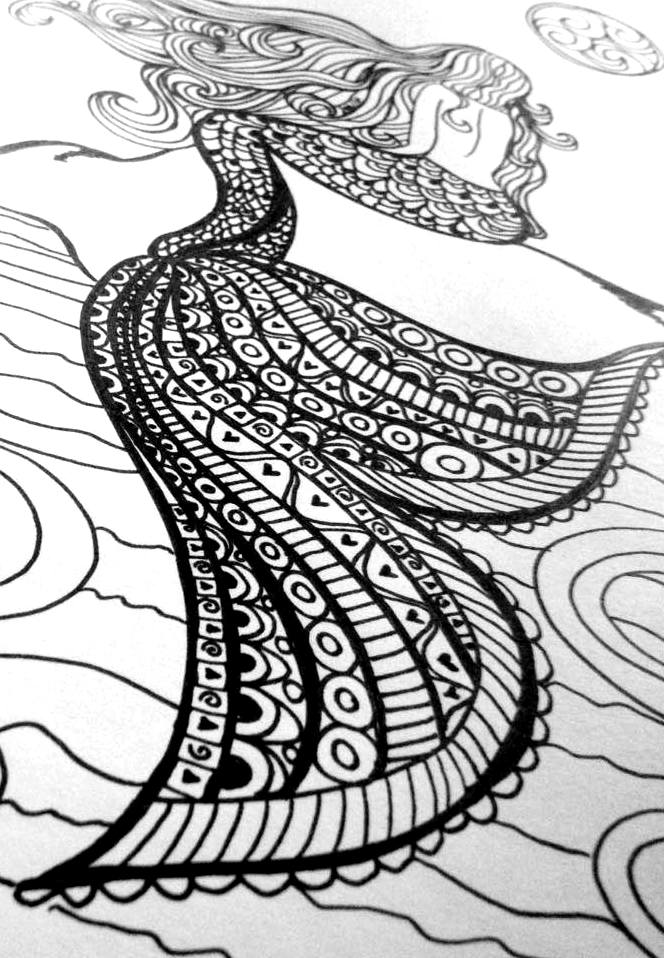 Mermaid coloring book for adult handmade by frou frou crafts