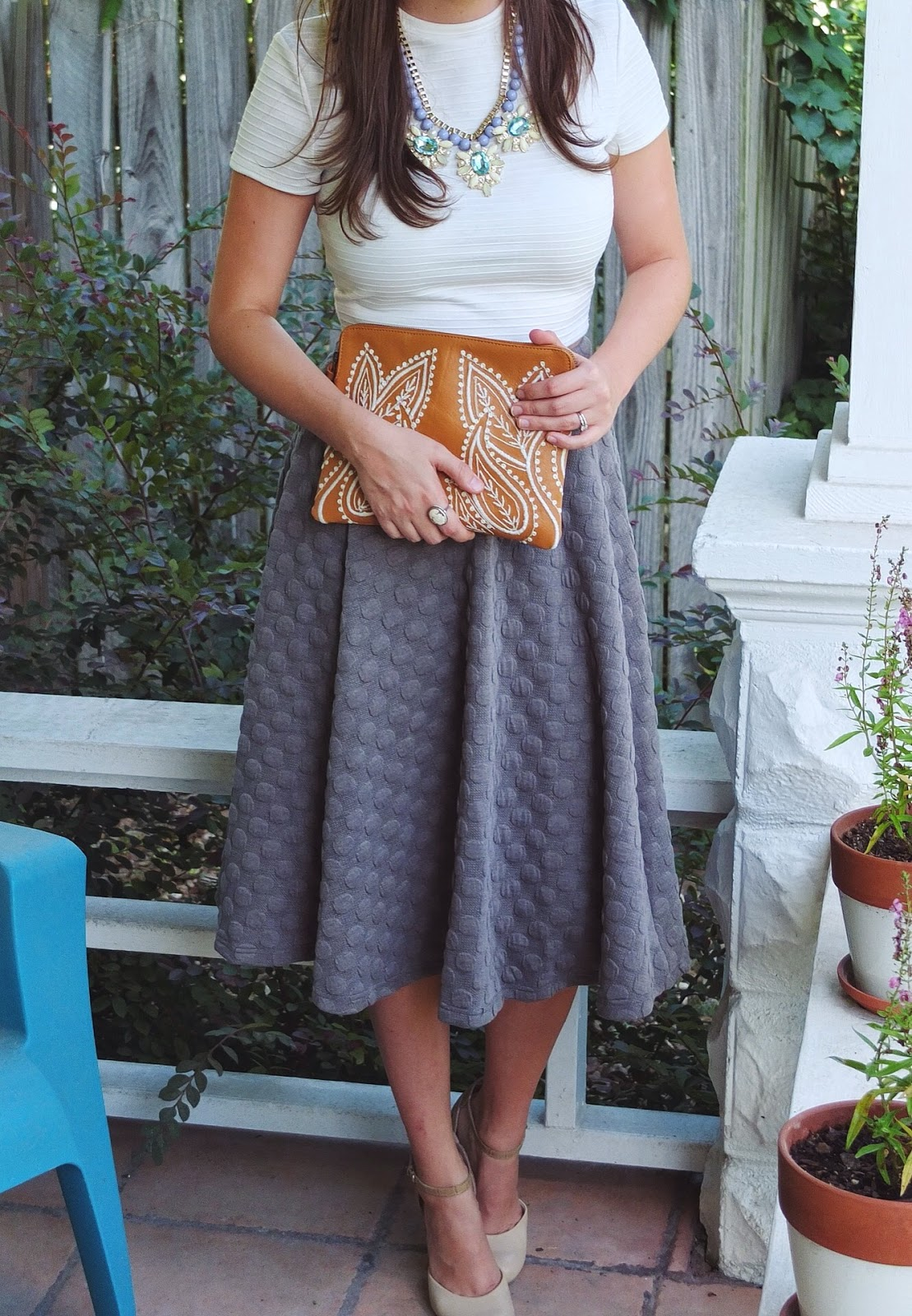 Nordstrom Gray Midi Skirt, Seychelles Prowl Heels, Anthropologie Prowl Heels, Nordstrom Grey Midi Skirt, Anthropologie Embroidered Clutch, Anthropologie Clutch, Anthropologie Alba Embroidered Clutch, Alba Embroidered Clutch, Seychelles Heels, Seychelles Conquer Heels,  Nordstrom Midi Skirt, Gray Midi Skirt, Grey Midi Skirt, White Crop Top and Midi Skirt,