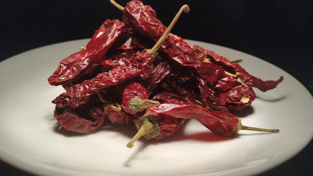 Pieces of Kashmiri chilly in plate food recipe