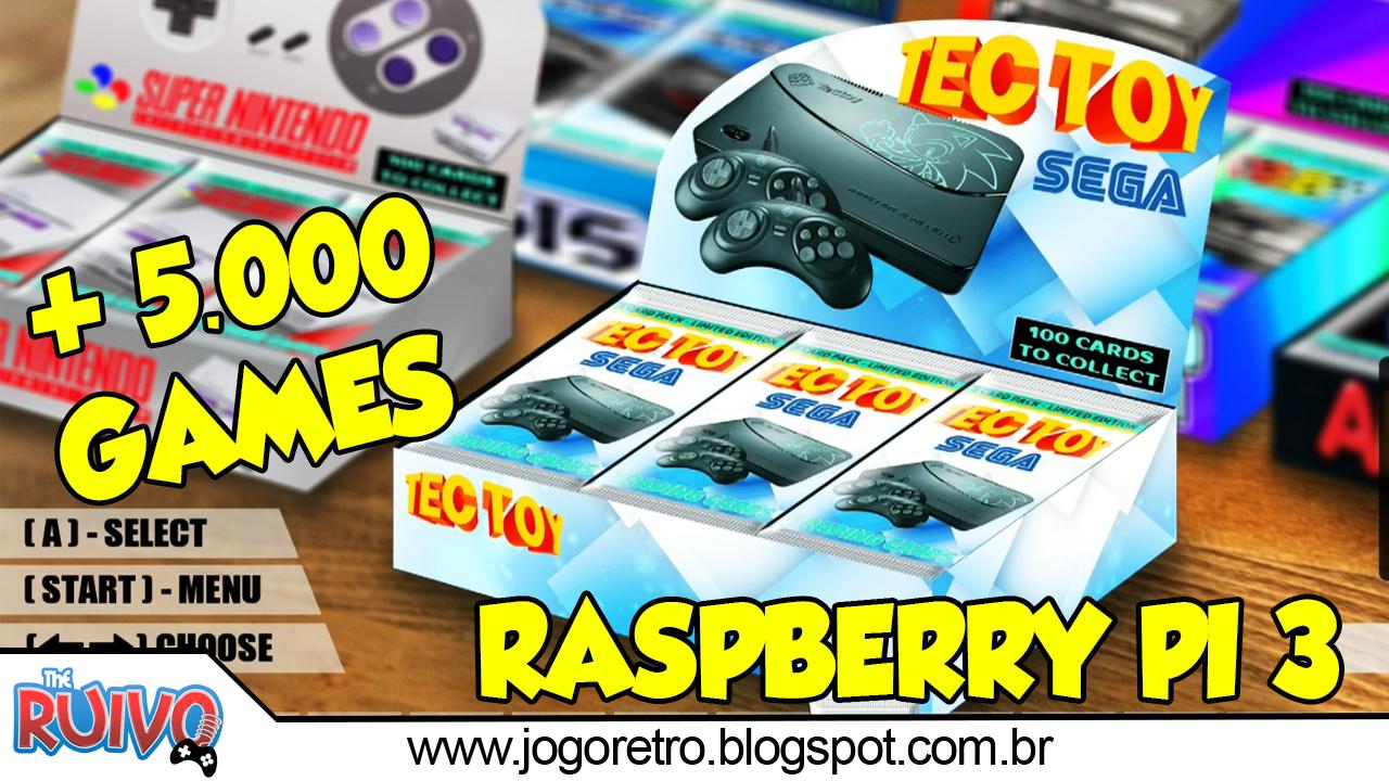 Raspberry Pi 3 Recalbox V3 16GB com 5 153 GAMES by Brevit Games