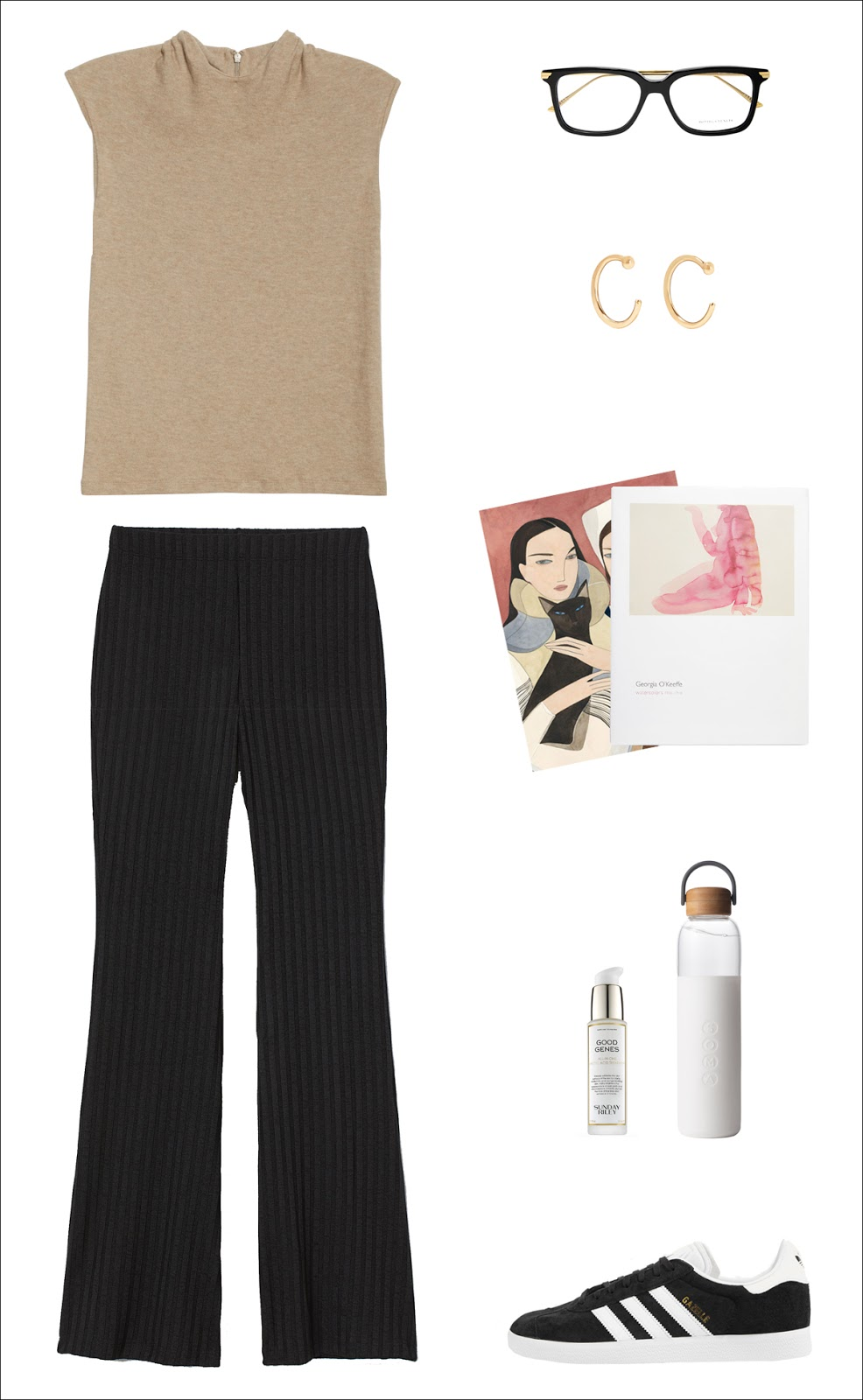 A Comfy-Cool Outfit to Get You Through Covid-19 Self-Quarantine — tan tank top, black eyeglassses, black ribbed pants, and Adidas sneakers