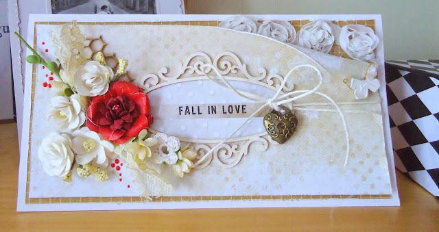 ręcznie robiona kartka z kwiatami, ślubna kartka z kroplą czerwieni