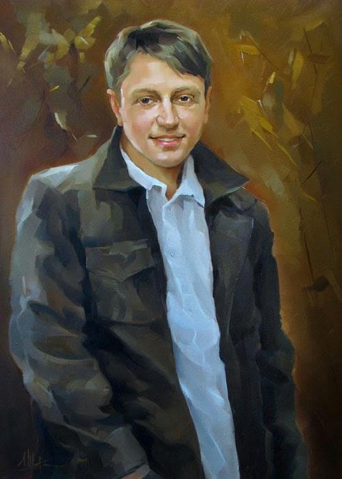 Портреты маслом на заказ, портрет молодого человека
