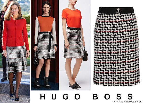 Queen Letizia wore HUGO BOSS Vulnona Skirt