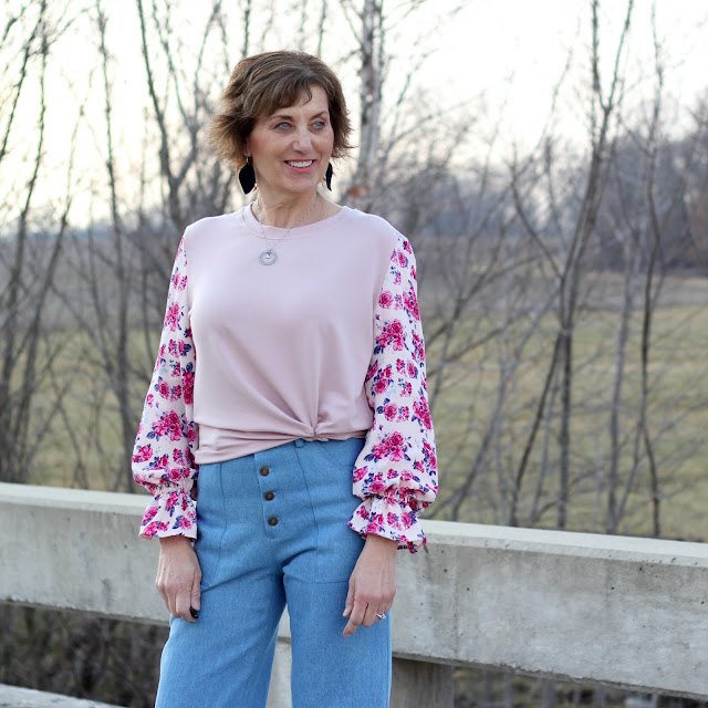 Style Maker Fabrics' Spring Style Tour 2019.  McCall's and Butterick patterns combined to make a top with French Terry and Rayon Crepe.  The pants are True Bias Landers made from Designer Washed Mid Weight Denim
