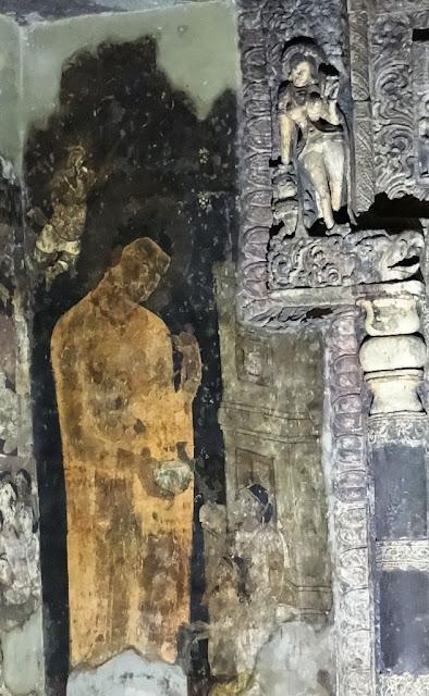 Painting of Buddha with Rahula and Yashodhara - Ajanta cave 17