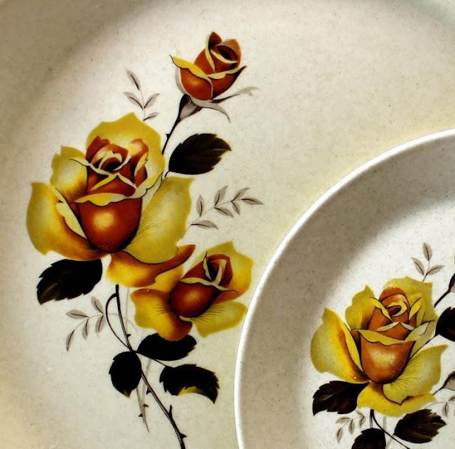 Rose pattern of vintage Johnson of Australia plates