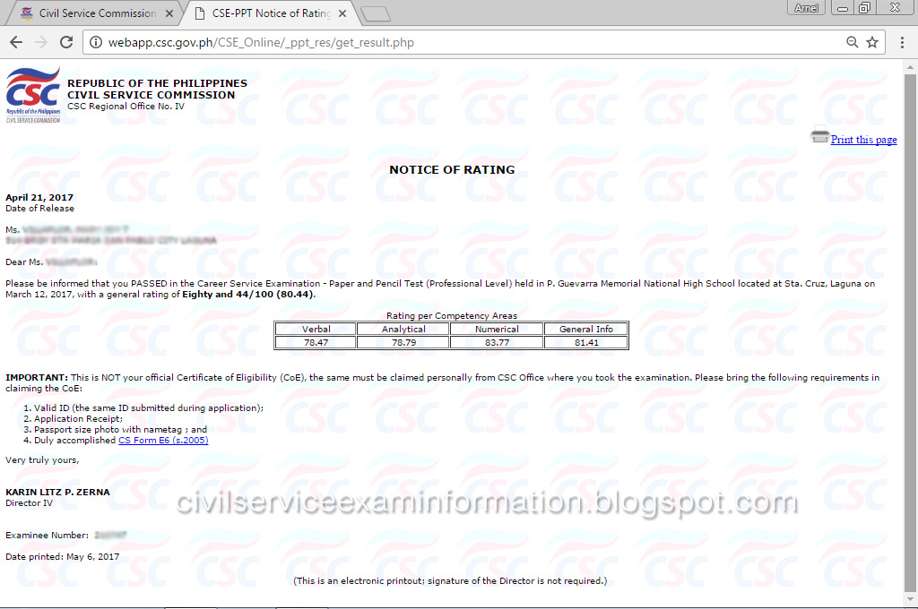Civil Service Exam Ph: Online Civil Service Examination Result