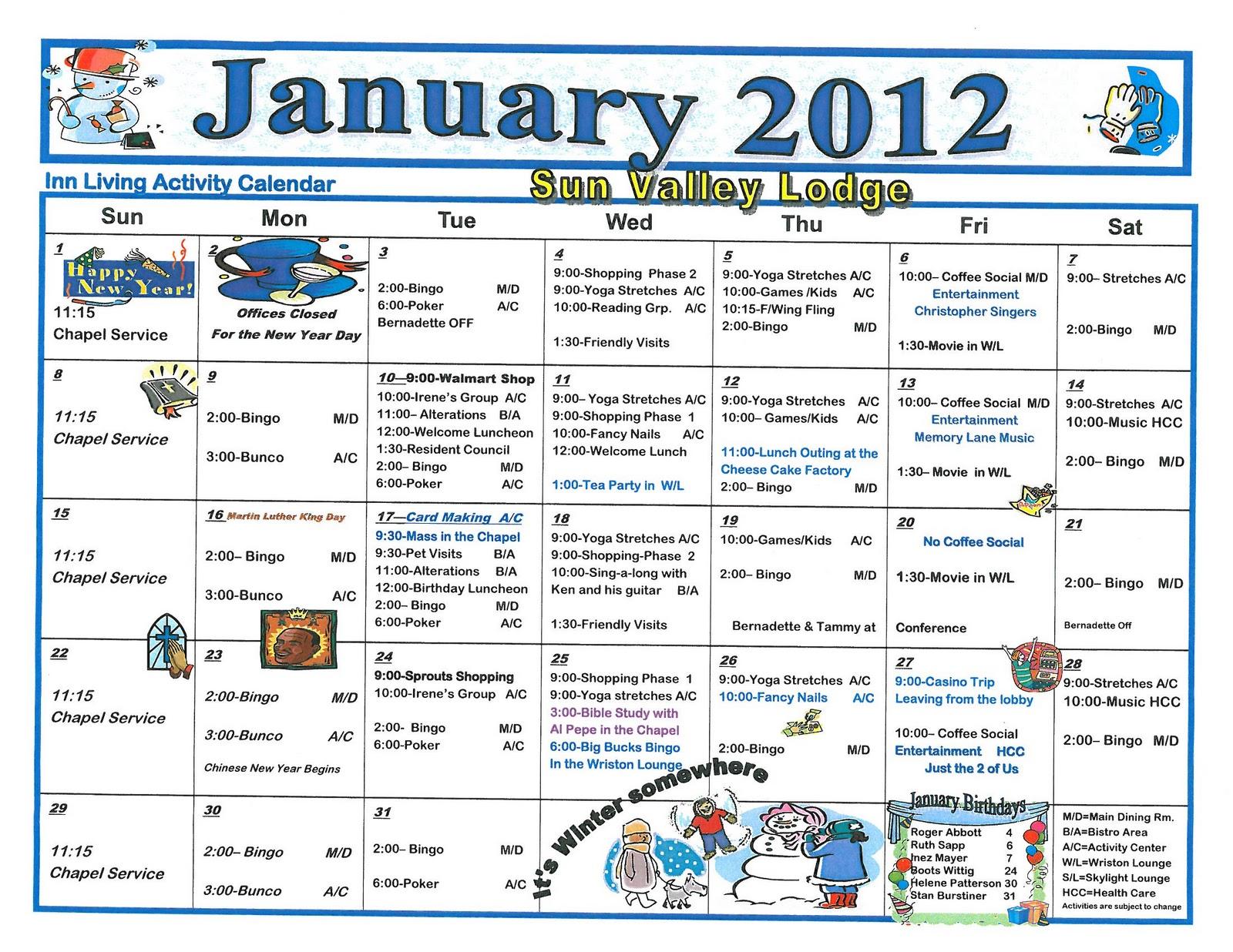 January 2012 assisted living activity calendar welcome for Assisted living activity calendar template