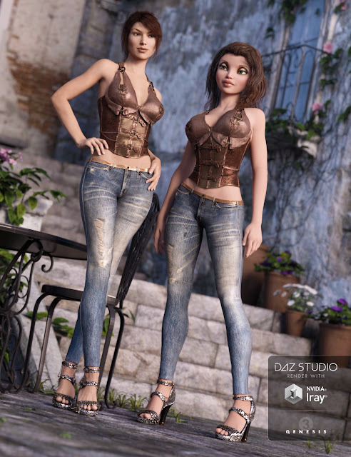 Skinny Jeans and Corset Outfit for Genesis 3 Female