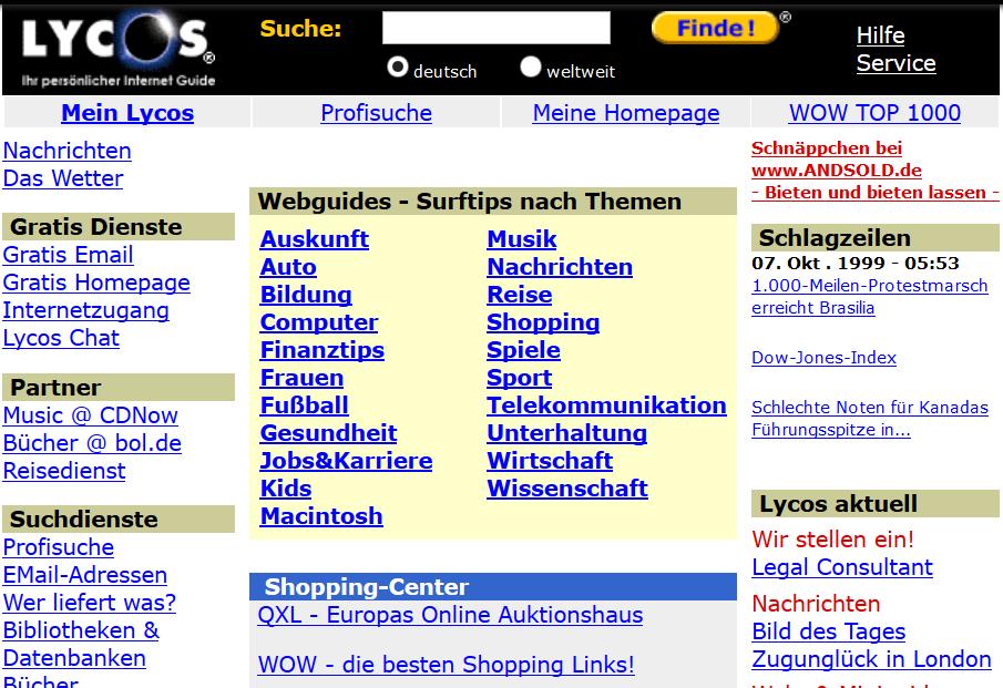 Die Suchmaschine Lycos im Jahr 1999.
