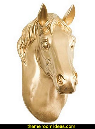 Horse in Gold - Faux Head Bust Fauxidermy Animal Art Replica Taxidermy Resin Fake Decorative Mount Decor