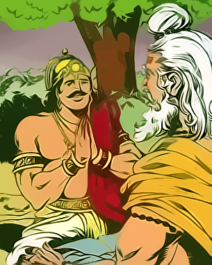 Bhishma advises Yudhistra with Pandavas and Krishna on his death bed of arrows_Shanti Parva-122