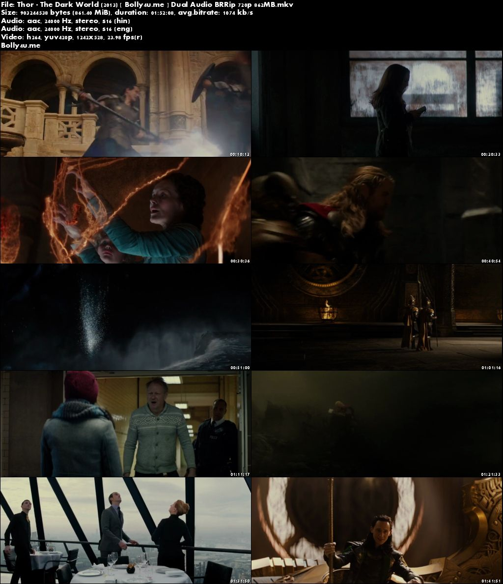 Thor The Dark World (2013) BRRip 850MB Hindi Dual Audio 720p