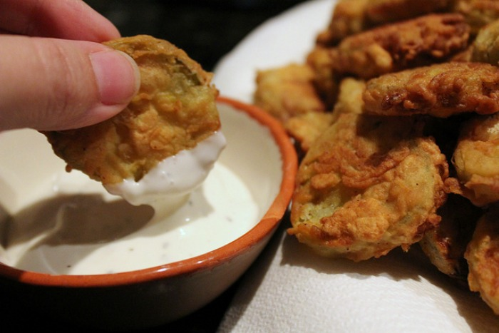 Fried Pickles Dipped in Ranch Dressing