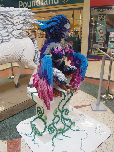 Aello the Harpy took 2 people 47 hours to create, using 21,500 bricks!