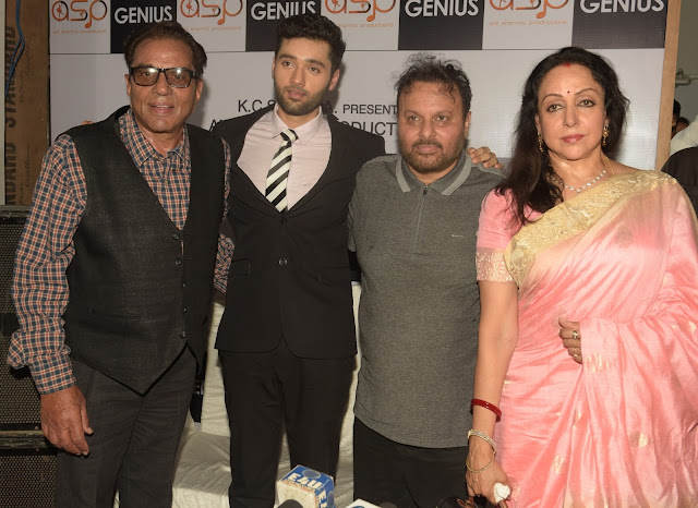 5. Dharmendra, Utkarsh Sharma, Anil Sharma, Hema Malini  during Mahurat ceremony of the film GENIUS