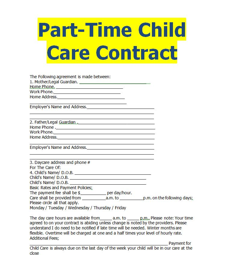 Home Child Care Agreement Contract