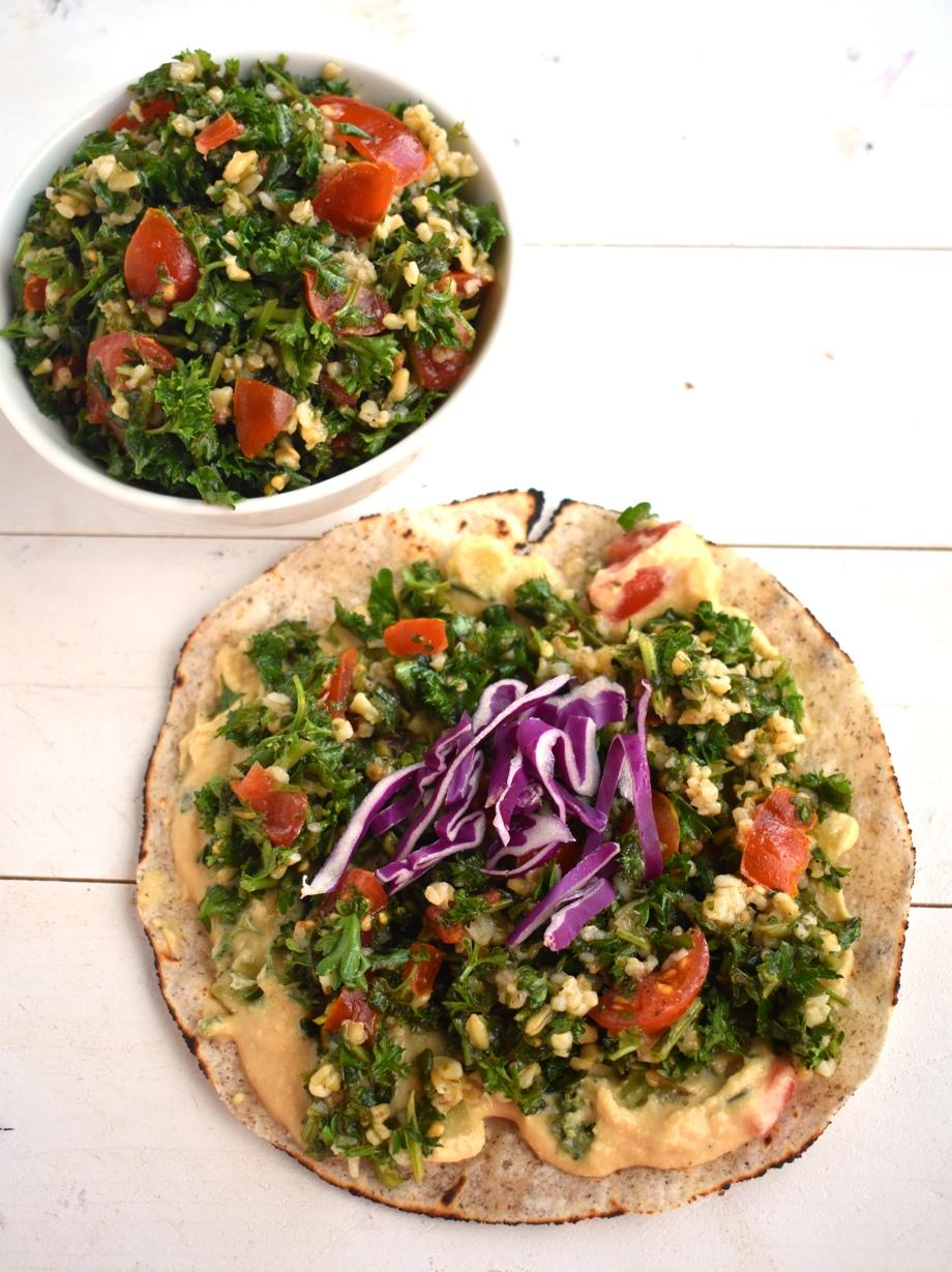 Healthy tabbouleh hummus wrap