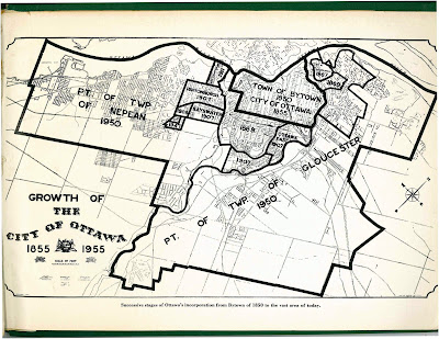 Map of City of Ottawa from 1955 showing annexations/expansions up to that point, starting with Town of Bytown 1850 City of Ottawa 1855 in the middle and the largest expansions reading Pt of Twp of Nepean 1950 and Pt of Twp of Gloucester 1950.