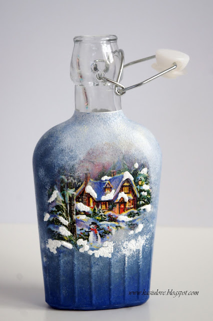 świąteczne butelki decoupage