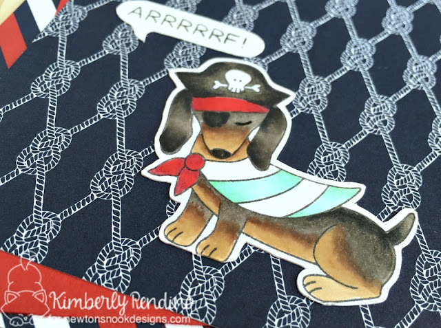 Doxie handmade card | kimpletekreativity.blogspot.com | newton's nook | pirate | halloween | dog | handmade card | stamping | papercrafts | cardmaking
